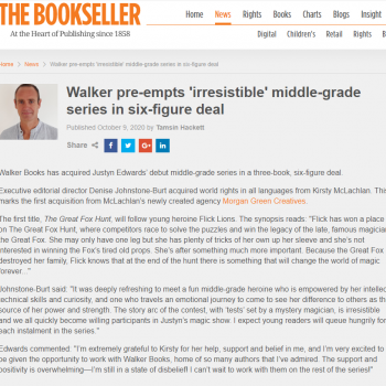 The Bookseller: 'Walker pre-empts 'irresistible' middle-grade series in six-figure deal'